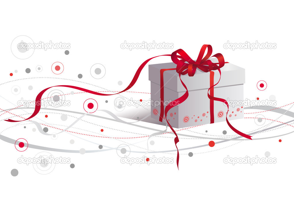 Silver box with red ribbon.. — Stock Vector #2025205