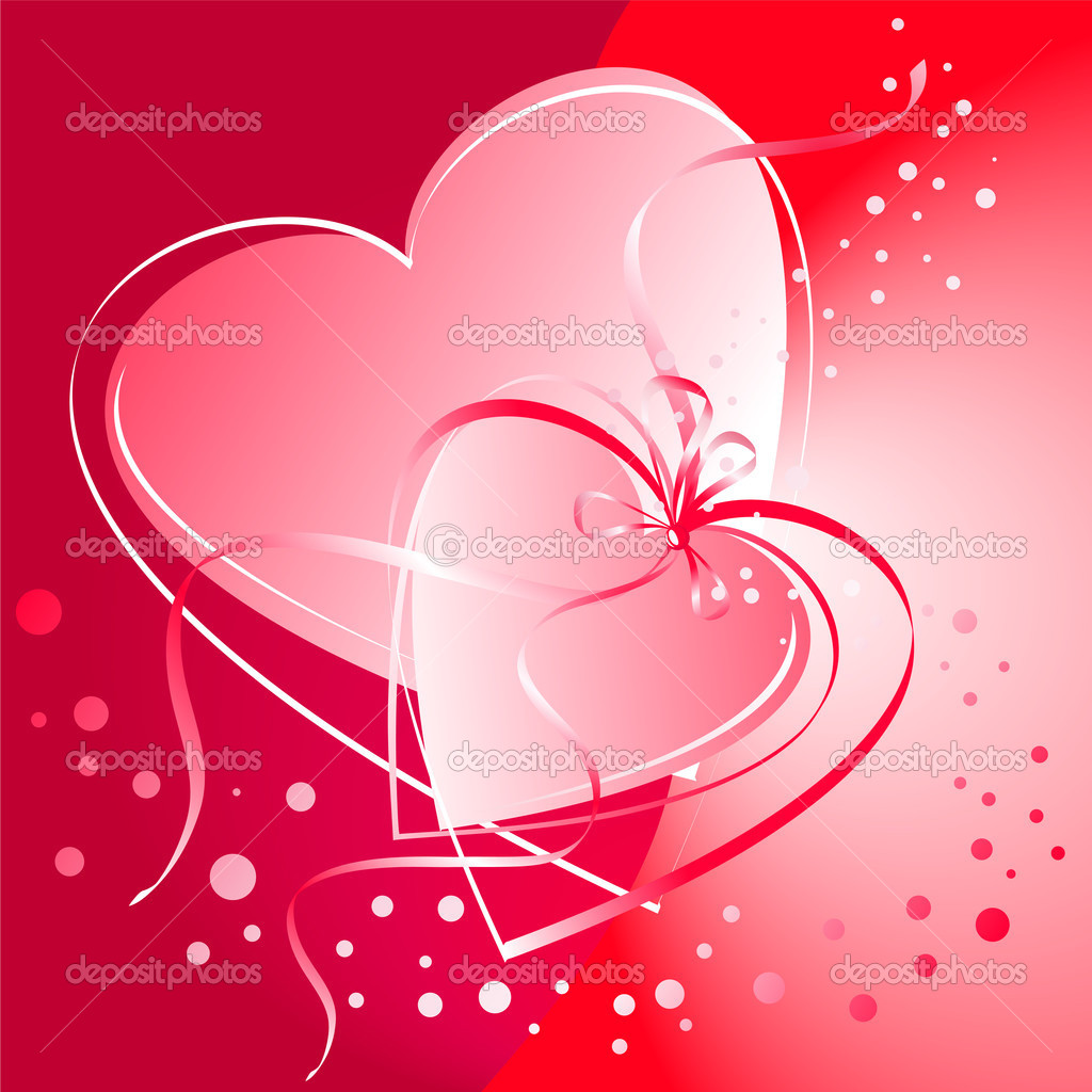 Valentine's Day card. Linked heart on a red background. — Stock Vector #2028748