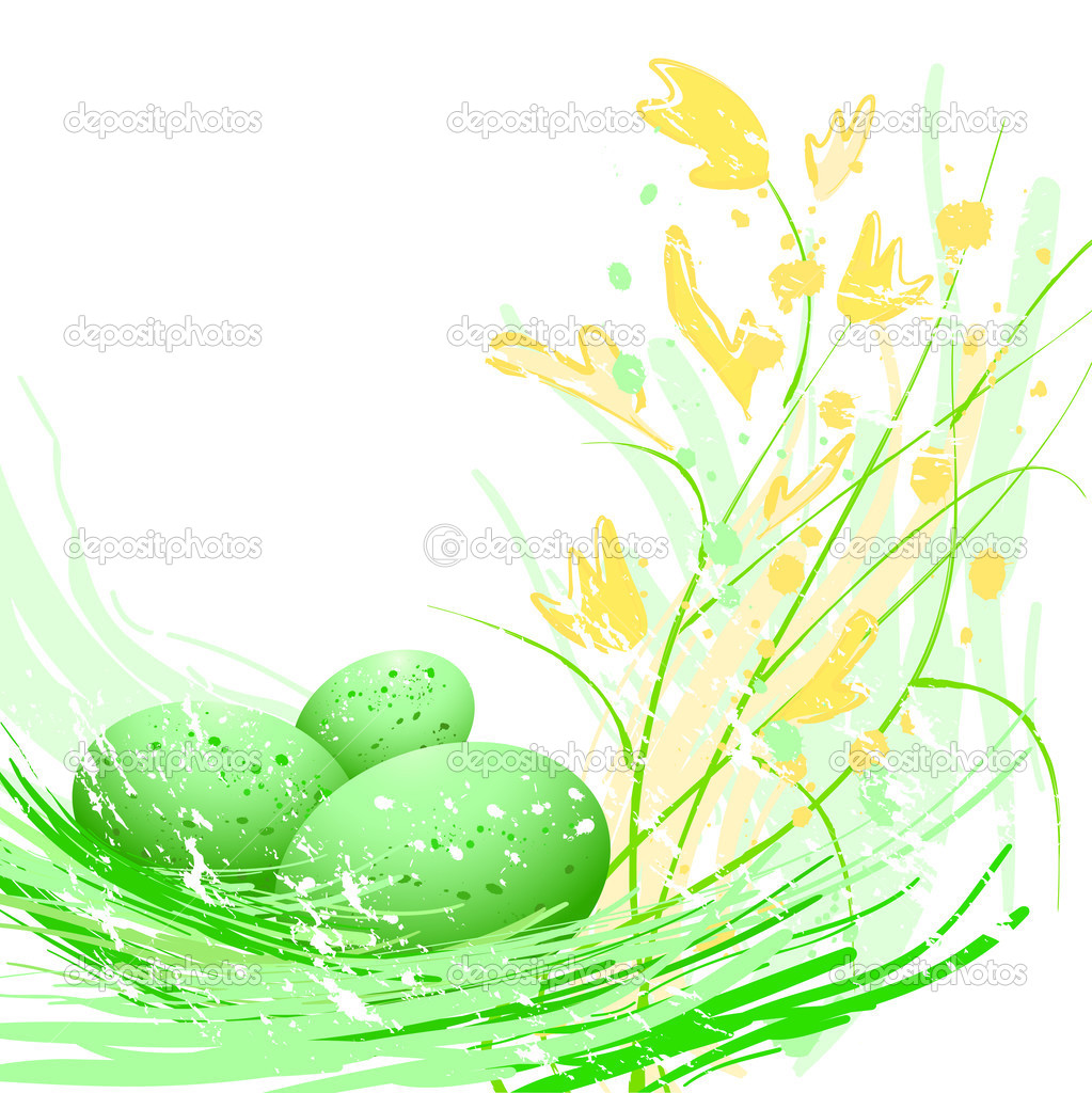 Green Easter eggs and flowers  Stock Vector #2029972