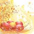 Easter red and yellow eggs - Stock Vector