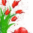Royalty-Free Stock Vector Image: Easter eggs and red tulips