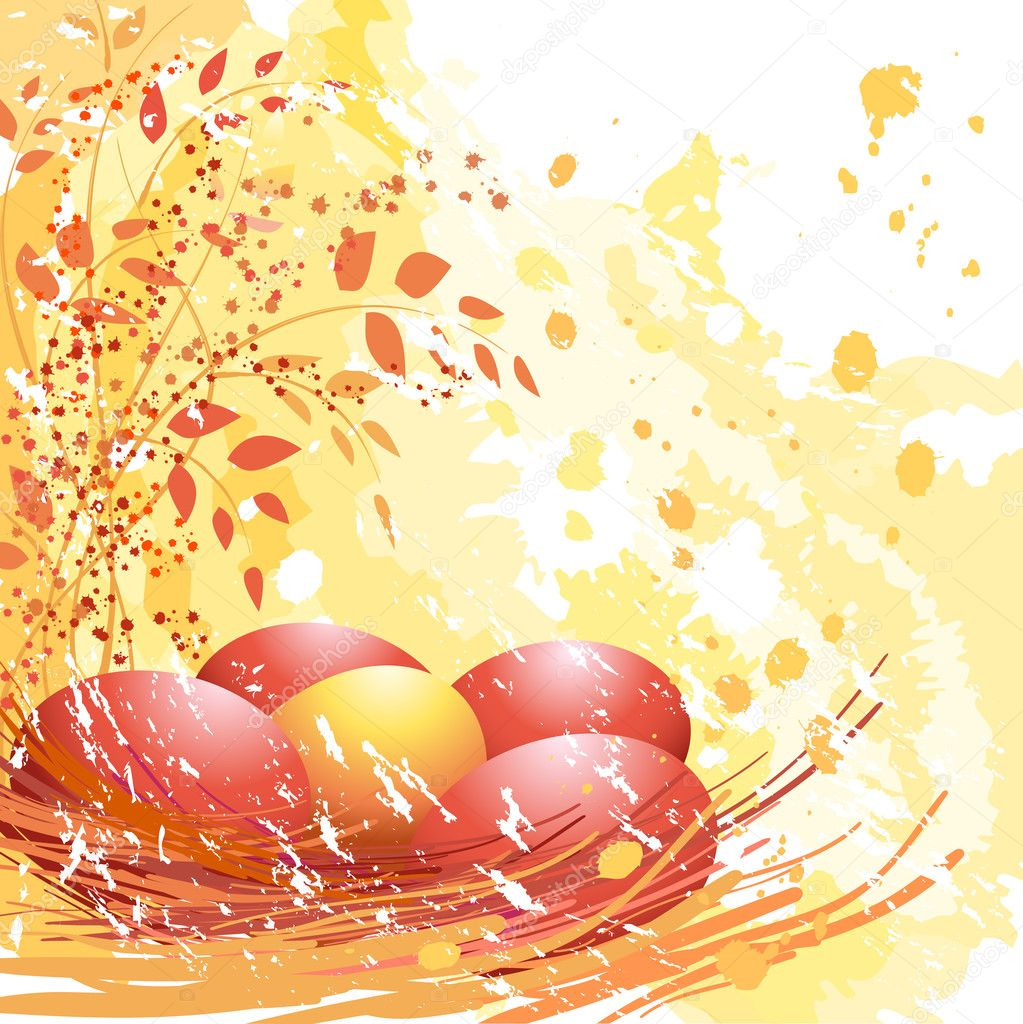 Easter red and yellow eggs on soft yellow background. — Stockvectorbeeld #2030027