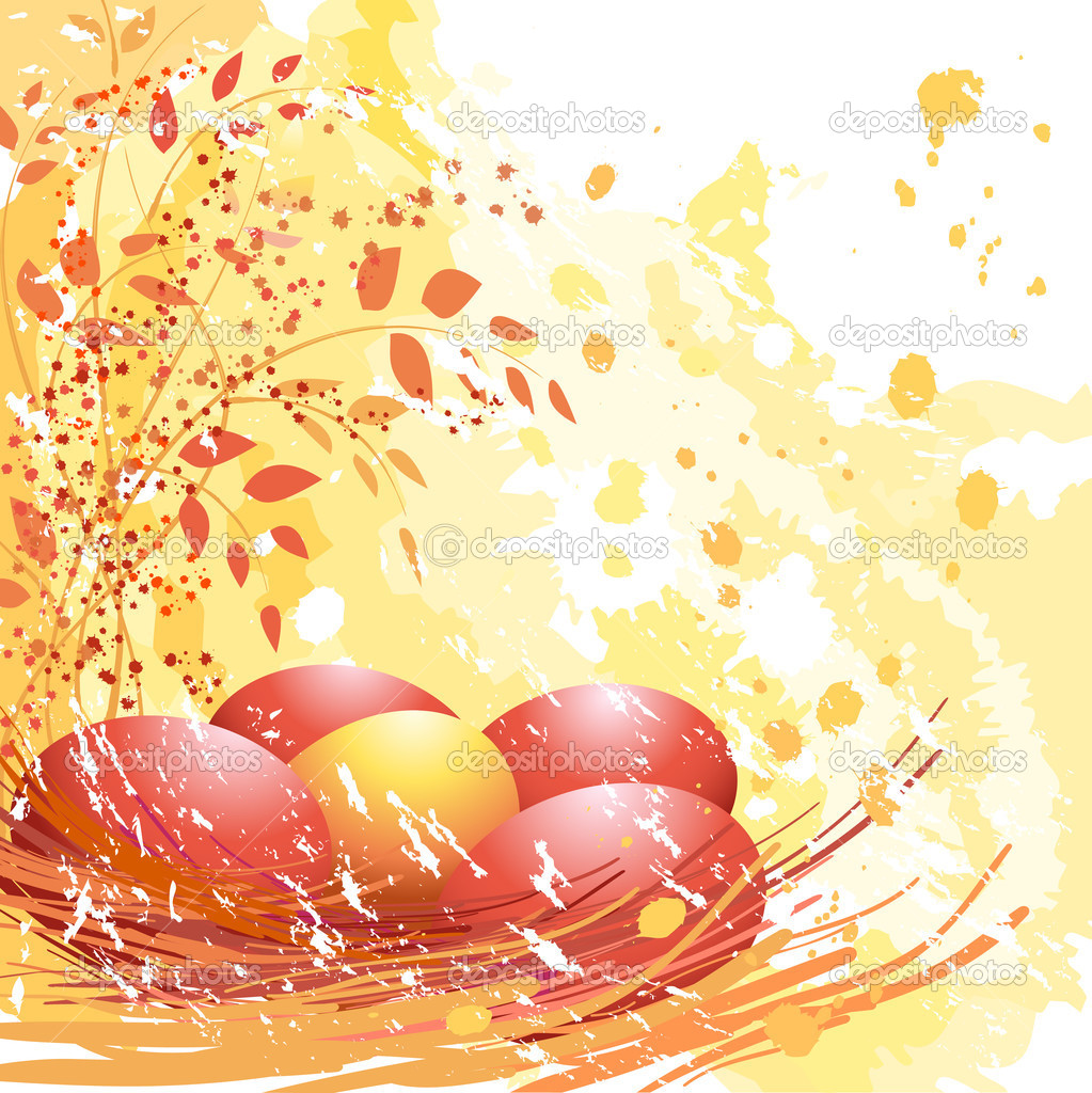 Easter red and yellow eggs on soft yellow background.  Stock vektor #2030027