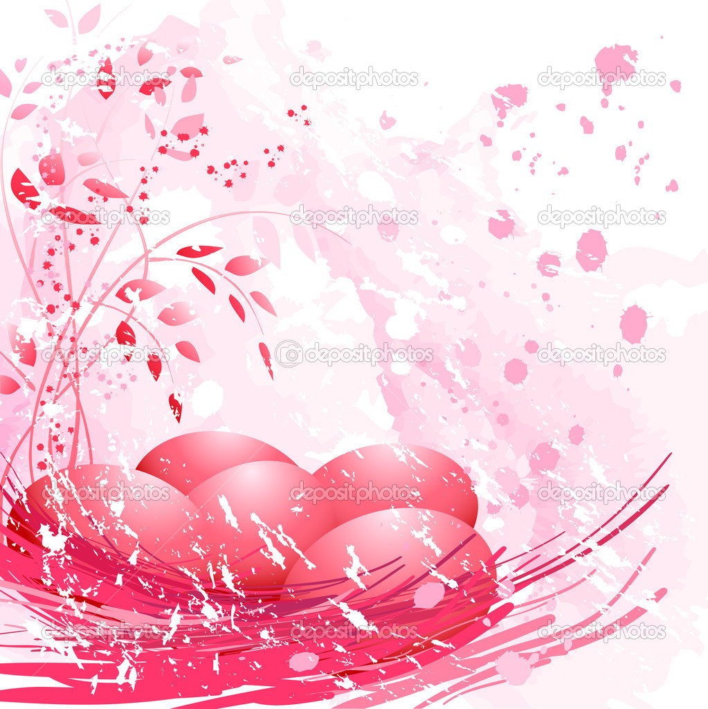 Easter eggs and flowers on soft pink background.  Stock Vector #2030094