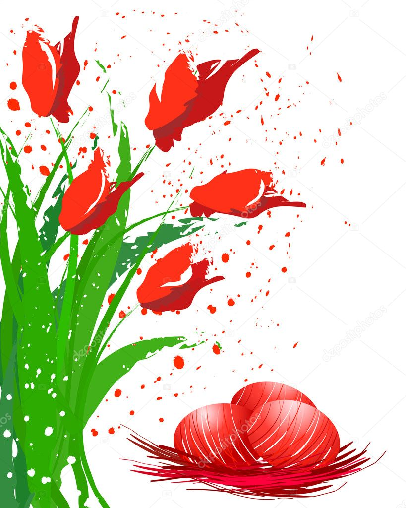 Red Easter eggs and red tulips — Stock Vector #2030341