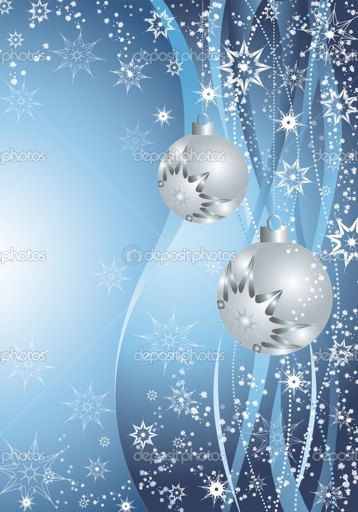 Silver balls and snowflakes on a blue background. — Stock Photo #2206566