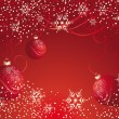 Red balls and gold snowflakes - Imagen vectorial