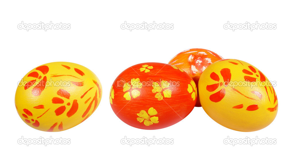 Red and yellow Easter eggs on white background. — Stock Photo #2594777
