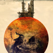 Concept photo of pollution on earth - Stock Photo