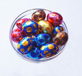Chocolate eggs in glass bowl — Stock Photo