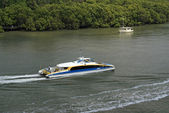 Brisbane river with ferry — Stock Photo
