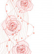 White red vector illustration of roses - Stock Photo
