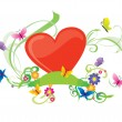 Summer heart with flowers — Stock Photo