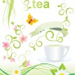 Green tea pictures set - Stock Photo