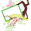 Spring blossom and dancing girl banner — Stock Photo