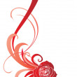 Red rose with ornament vector picture - 图库照片