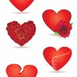 Red vector hearts set - Stock Photo