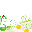 Green vector summer picrure with flowers - Stock Photo