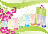 Pink and green backdrop with tubes — Stock Photo