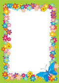 Butterfly flowers frame — Stock Photo