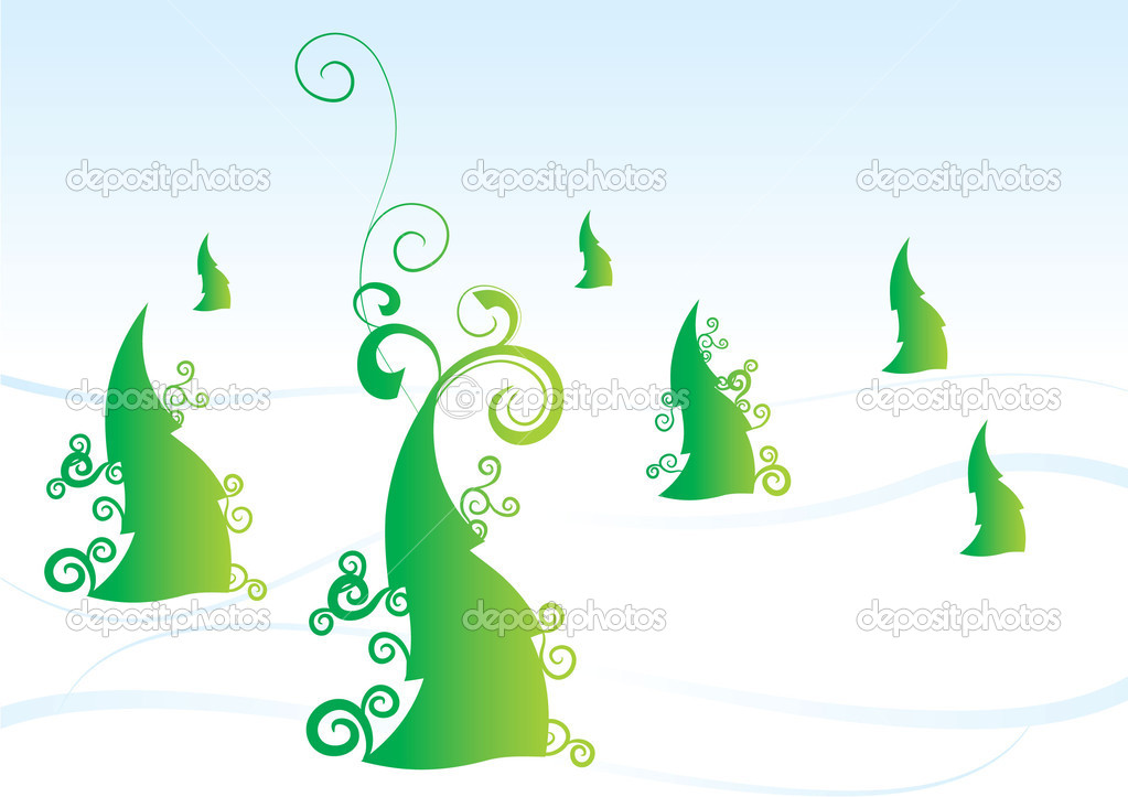 Christmas tree vector forest winter  Stock Photo #2128567