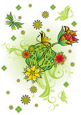 Flowers and butterflies card — Stock Photo