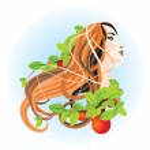 Pretty girl and apple tree — Stock Photo