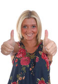Blond women with thumbs up — Stock Photo