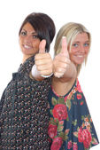 Two pretty girls thumbs up — Stock Photo