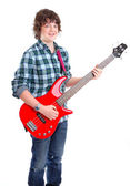 Teenager playing electric bass — Stock Photo