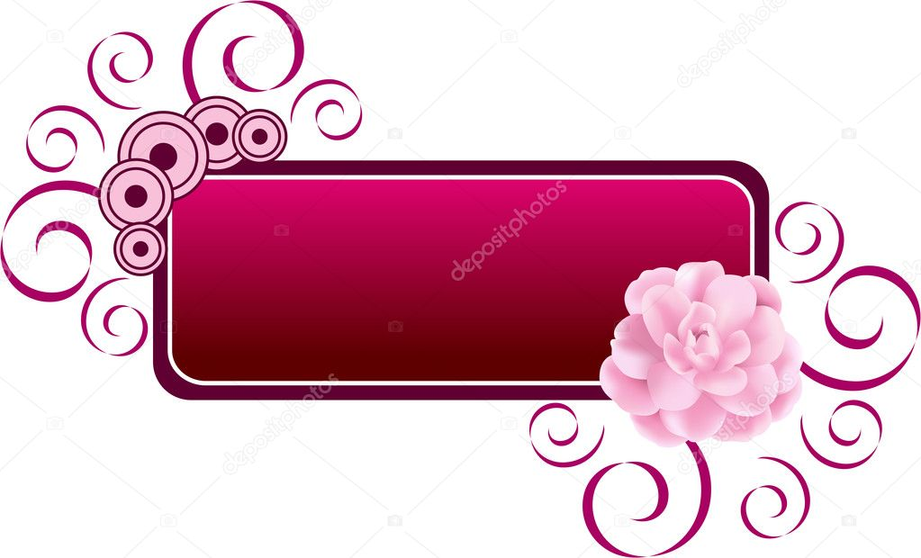 Decorative banner or label illustration with fresh pink flower, isolated. Vector illustration. — Stock Vector #2035489