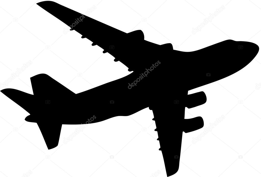 Vector illustration of black aeroplane silhouette, isoleted — Stock Vector #2082670