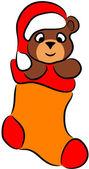 Cartoon Bear in Christmas sock — Stock Vector