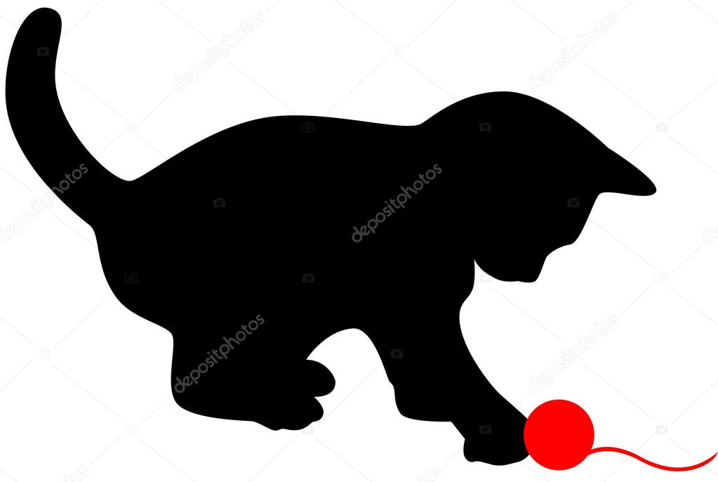 Little cat playing with red clew. Vector illustration. — Stock Vector #2234965