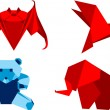 Royalty-Free Stock Vector Image: Origami set animals