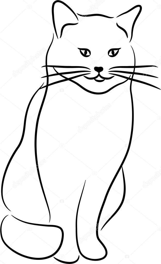 Контур рисунков кошек