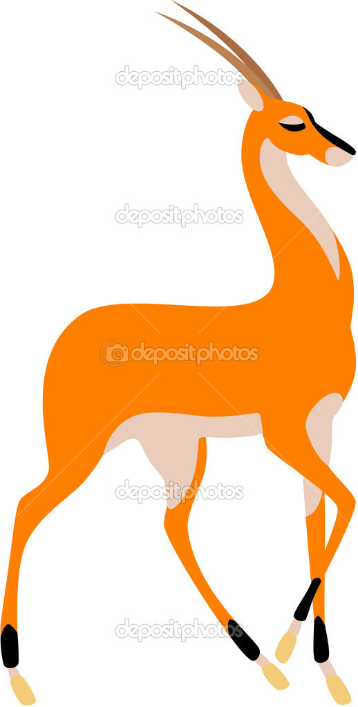 Vector illustration of graceful antelope, isolated.  Stock Vector #2541306