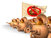 Chauvinism. Chicken uprising — Stock Photo