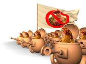 Chauvinism. Chicken uprising — Stock Photo