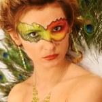 Woman Fantasy Makeup, Fashion Model Mask Make Up, Carnival Face Color — Stock Photo #2132960