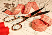 Tailor Clothing Accessory, Scissors Ruler Stitching, Sewing Objects Tool — Stock Photo