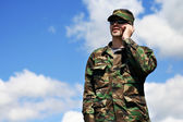 Mobile soldier — Stock Photo