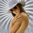 Naked woman in hat — Stock Photo