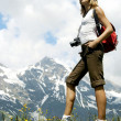 Tourist Woman Hiking in Mountains, Girl Backpacker Climbing, travel tourism — Stock Photo #2154988