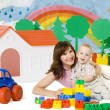 Baby Mother Play Lego Blocks Toys in Home, Family House Car — Stock Photo #2155833