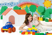 Baby Mother Play Lego Blocks Toys in Home, Family House Car — Stock Photo