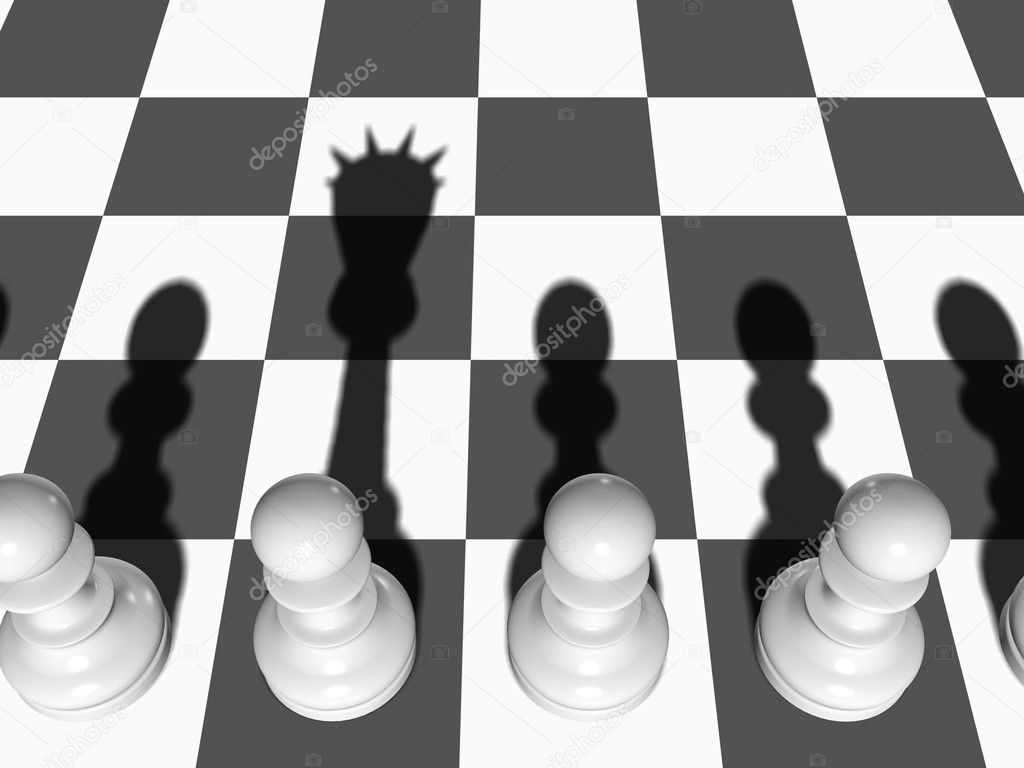 Chess. The Pawn casts a shade of the Queen on a chessboard. — Stock Photo #2410613