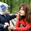 Stock Photo: Mother and Son in the park