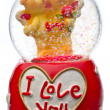 Valentine day snow globes — Stock Photo