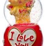 Valentine day snow globes — Stock Photo